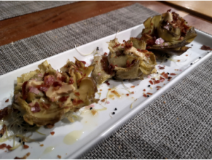 alcachofas confitadas, menu fin de semana